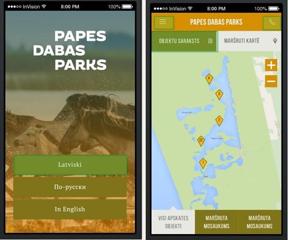 Dabas parka Pape mobilā aplikācija